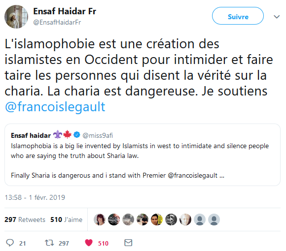Tweet of Ensaf Haidar