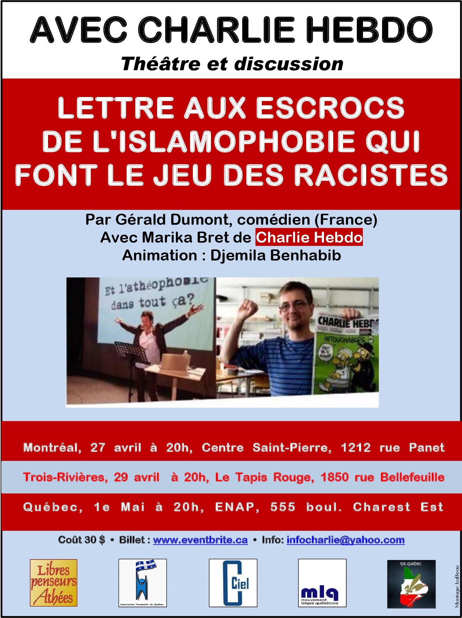 Avec Charlie Hebdo -- Théâtre et discussion